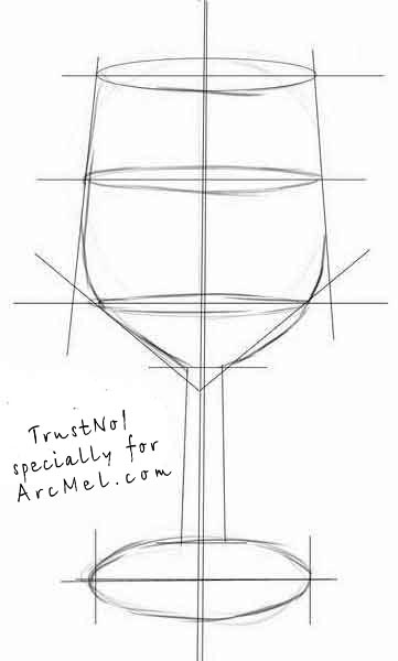 How to draw a wineglass step by step | ARCMEL.COM