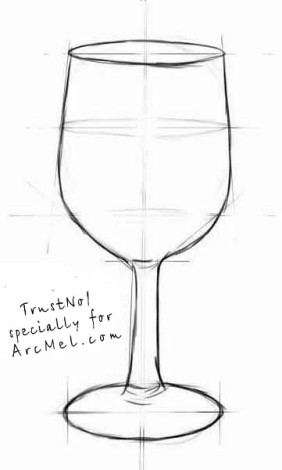 How to draw a wineglass step 4