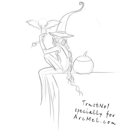 How to draw a witch step 3