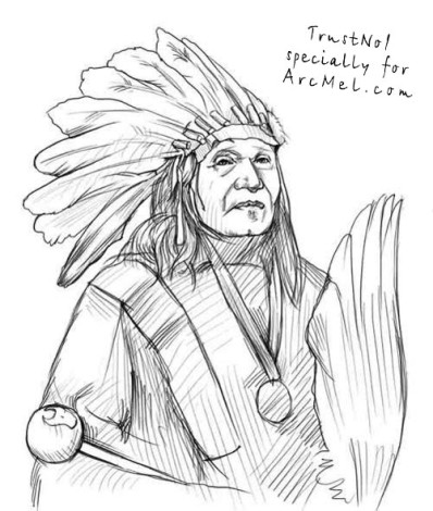 Cherokee Facial Features >> How to draw an Indian step by step | ARCMEL.COM