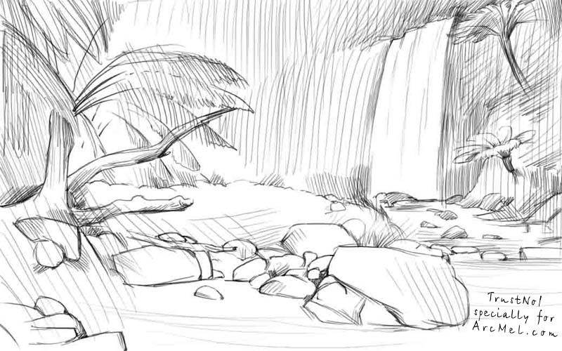 Line Drawing Jungle : How to draw jungles step by arcmel