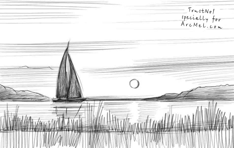 How to draw sunset step by step arcmel com for Easy landscape drawings step by step