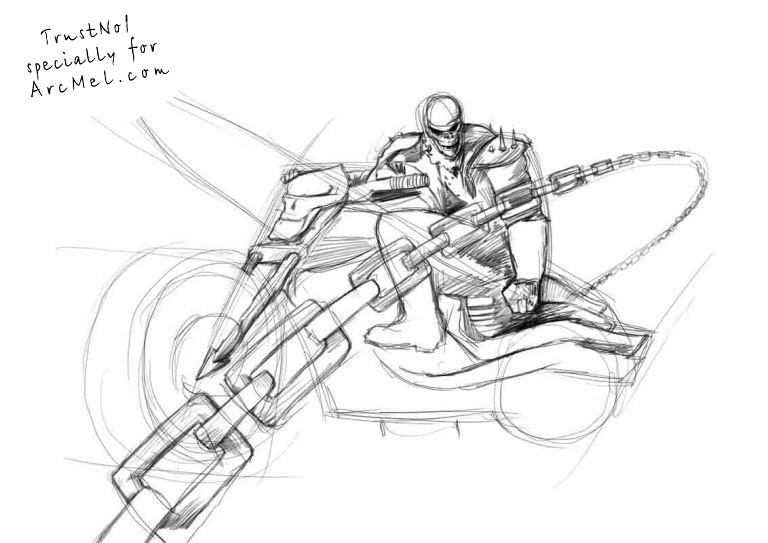Line Drawing Step By Step : How to draw the ghost rider step by arcmel