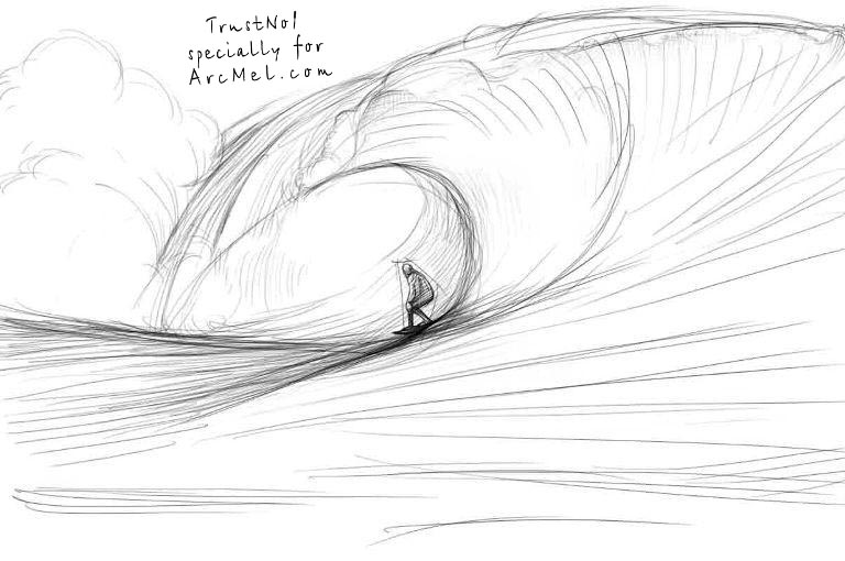 Drawing Lines Surf Movie : How to draw waves step by arcmel