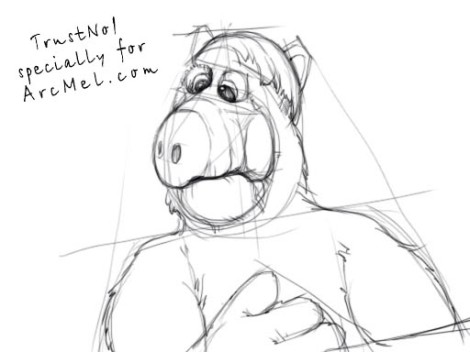 How to draw Alf step 3