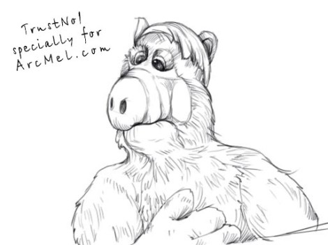 How to draw Alf step 5