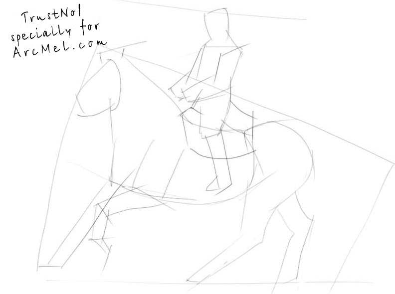 how to draw a person sitting on a horse