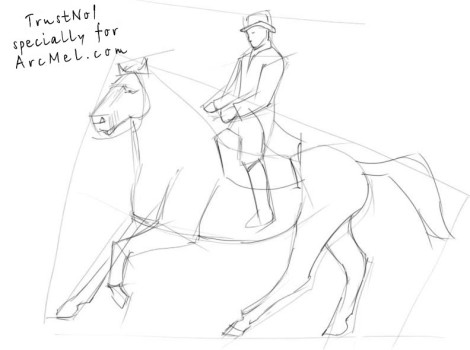 How to draw a rider step 2