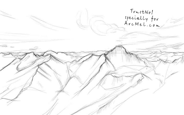 How To Draw Mountains Step By Step Arcmel Com