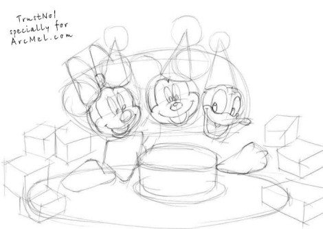 How to draw a birthday party step 2