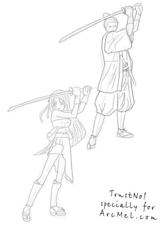 How to draw Samurai step by step 4