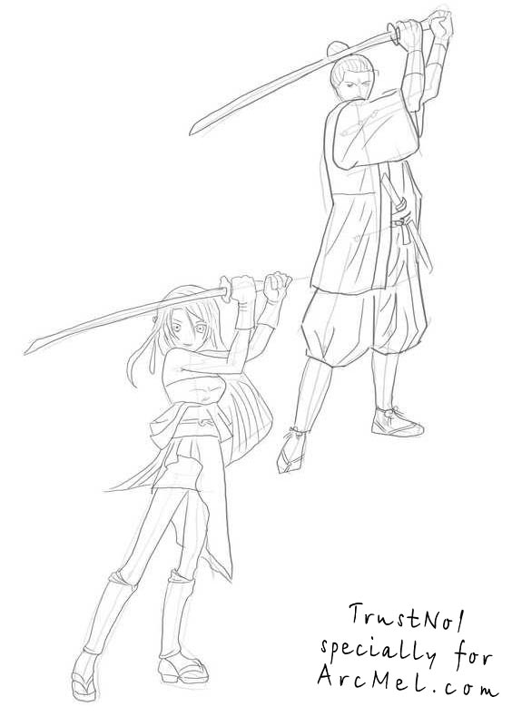 How to draw Samurai step by step | ARCMEL.COM How To Draw A Train For Kids Step By Step