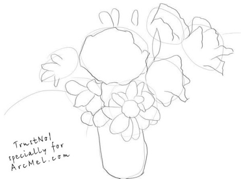 How to draw a bouquet step by step 2