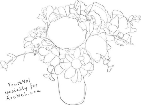 How to draw a bouquet step by step 3