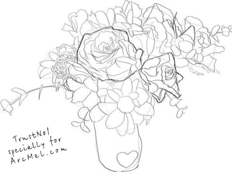 How to draw a bouquet step by step 4