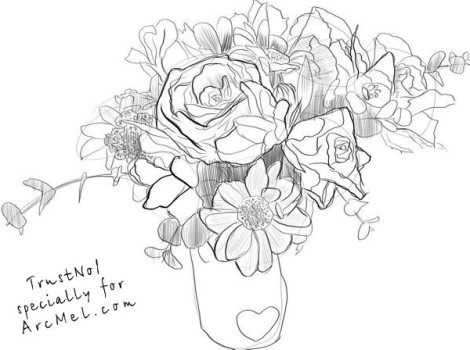 How to draw a bouquet step by step 5
