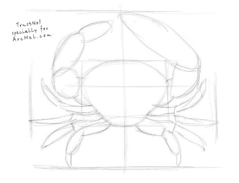 How to draw a crab step by step 2