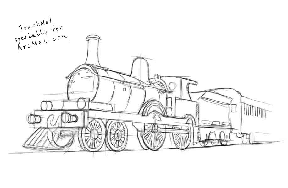 Learn How to Draw Steam Locomotive (Trains) Step by Step : Drawing ... How To Draw A Train For Kids Step By Step