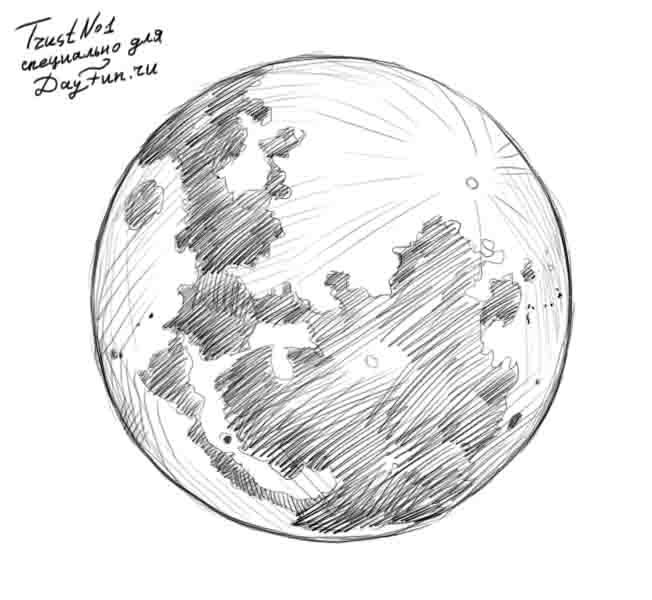 Line Drawing How To : How to draw the moon step by arcmel