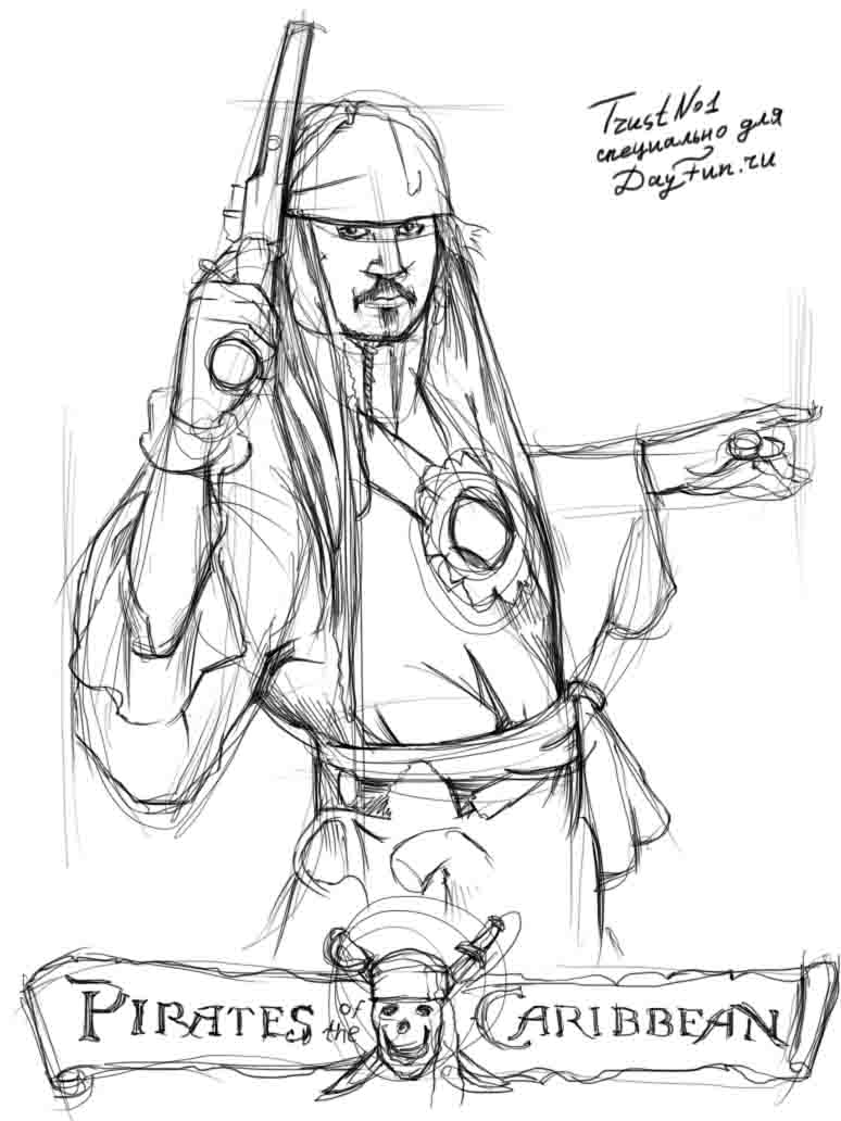 how to draw a pirate step by step 3
