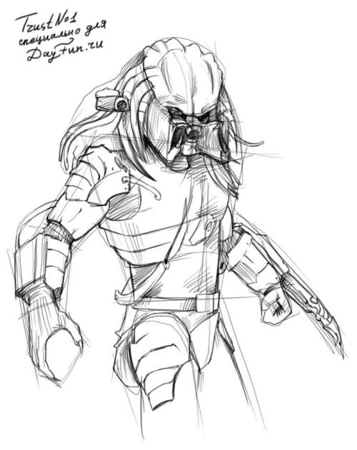 how to draw predator step by step arcmel com
