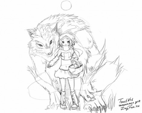 How to draw a Little Red Riding Hood step by step 4