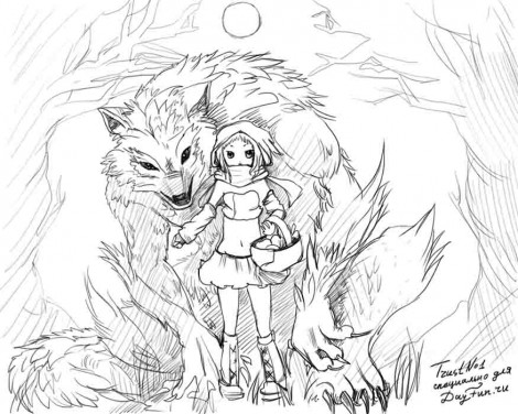 How to draw a Little Red Riding Hood step by step 5