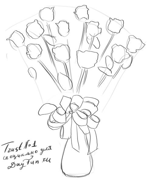 How To Draw A Bouquet Of Roses Step By Step Arcmel