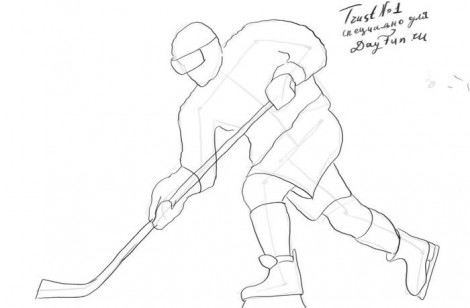 How to draw a hockey player step by step 3