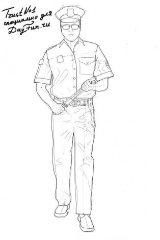 How to draw a policeman step by step 5