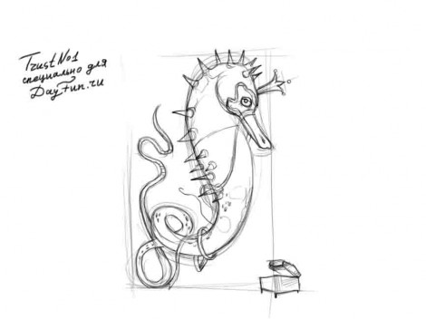 How to draw a seahorse step by step 3