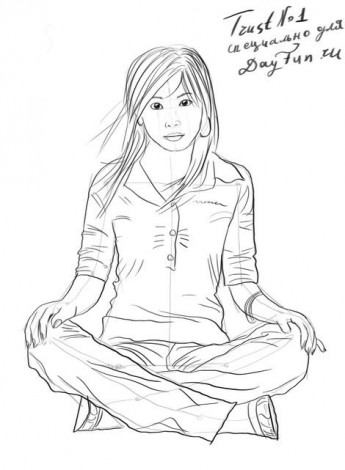 How to draw a sitting girl step by step 5