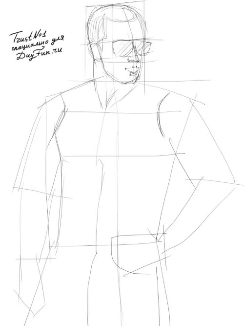 how to draw a shirt on a man
