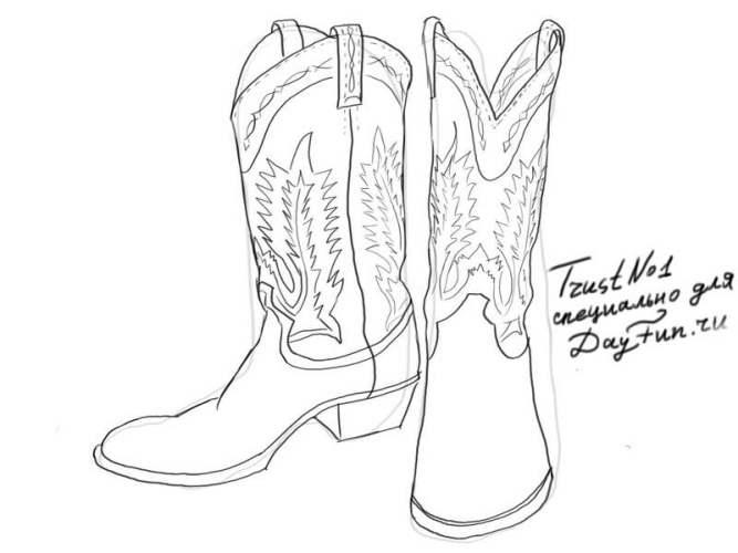 how to draw boots step by step 4