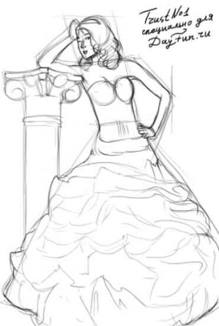 How to draw dress step by step 3
