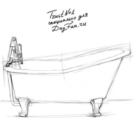 How to draw a bathtub step by step 2