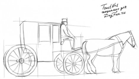 How to draw a carriage step by step 2