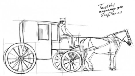 How to draw a carriage step by step 3