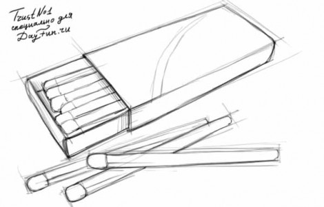 How to draw a matchbox step by step 3