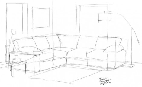 How To Draw A Sofa Step By 2