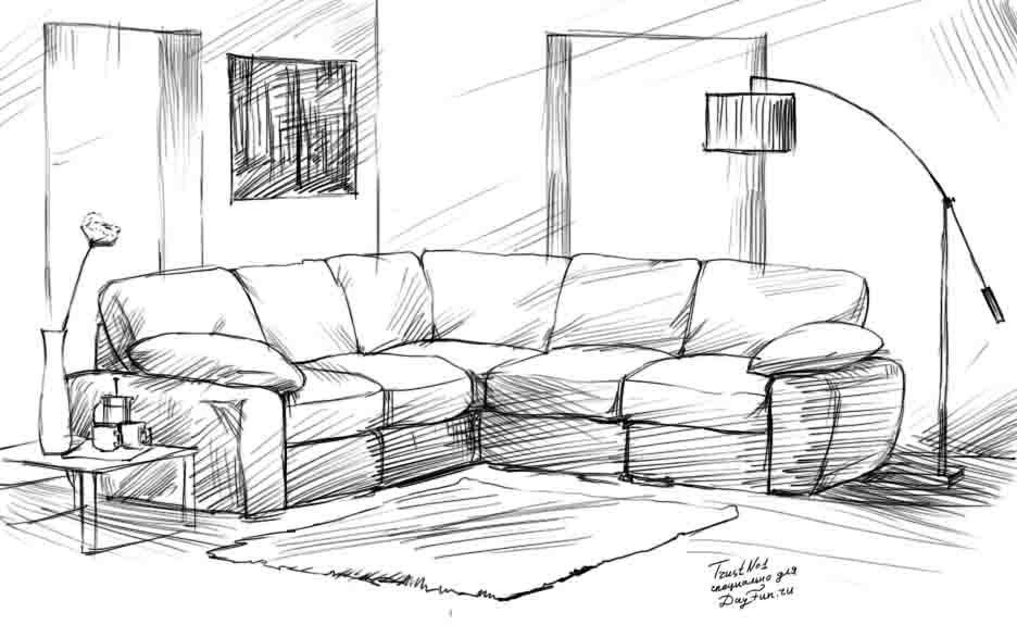 How to draw a sofa step by step arcmel com for Sofa zeichnen kinder