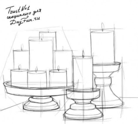 How to draw candles step by step 3