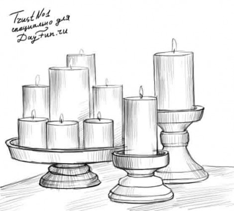 How to draw candles step by step 4