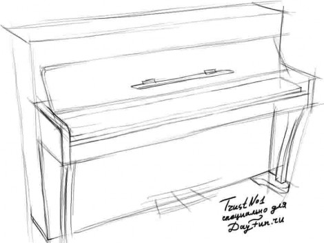 How to draw piano keyboard step by step 2