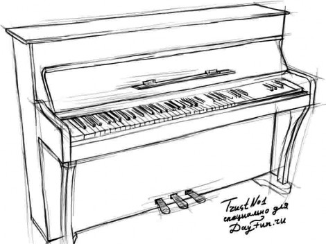 How to draw piano keyboard step by step 3