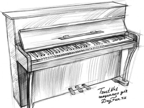 How to draw piano keyboard step by step 4