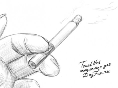 How to draw a cigarette step by step 4