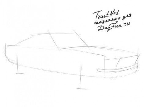 How to draw Ford Mustang step by step 1