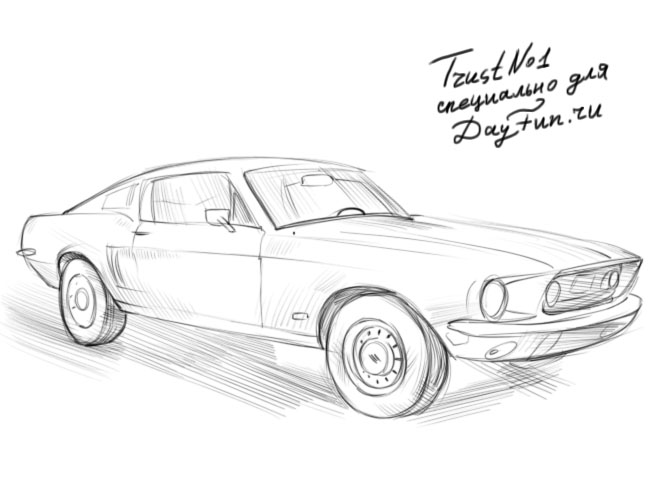 how to draw ford mustang step by step