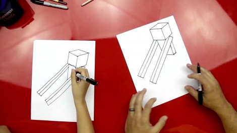 how to draw enderman step by step 3